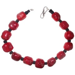 Red Coral and Black Onyx Necklace