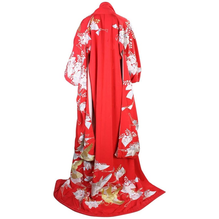 Japanese Red Wedding Kimono with Crane Embroidery