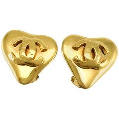 1993 Chanel Gold-Plated Heart-Shaped Logo Earrings