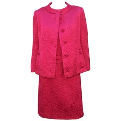 1950's Hannah Troy Fuchsia Quilted Cocktail Dress Suit