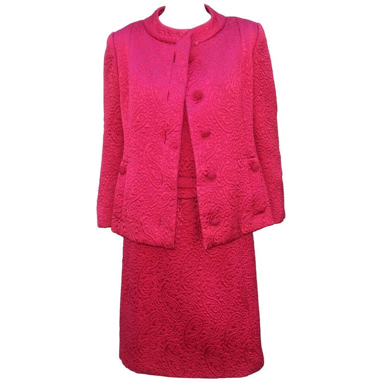 1950's Hannah Troy Fuchsia Quilted Cocktail Dress Suit For Sale