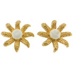 1994 Chanel Faux Pearl Gold-Plated Flower Earrings