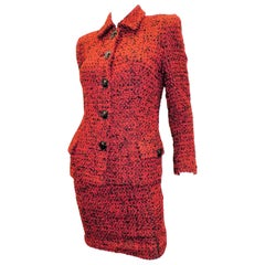 Gianni Versace Couture Vintage Iconic red tweed skirt suit w medusa buttons