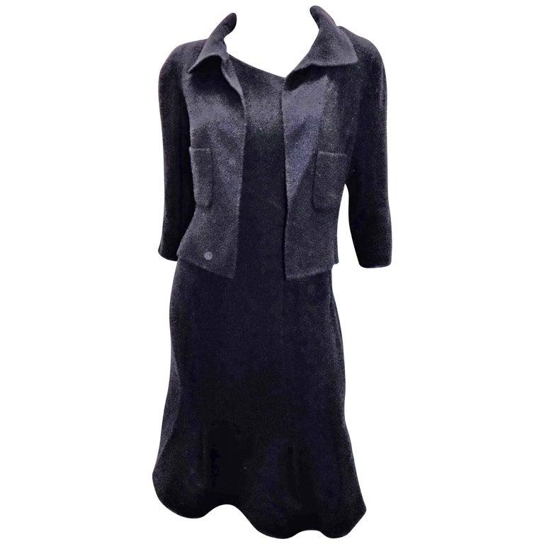 Oscar De La Renta Navy wool hourglass dress and bolero jacket ensemble