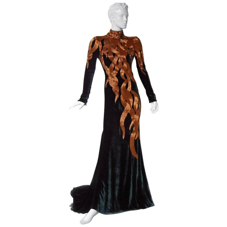 The Alexander McQueen 2007 Velvet Beaded Flame Gown for Holiday   New! For Sale