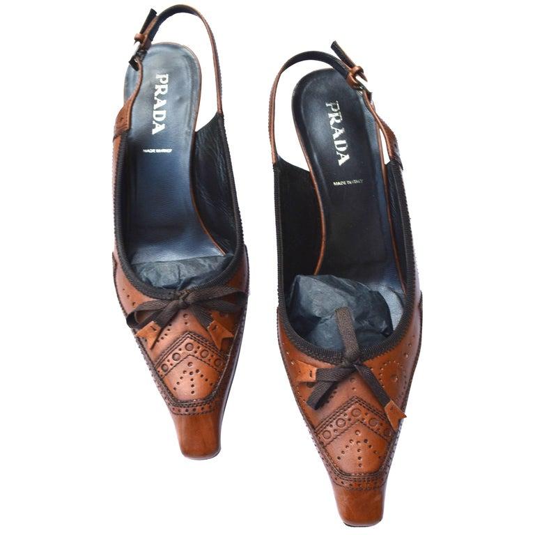 Prada Brown Loafer Heel