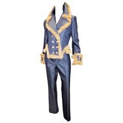 Amazing John Galliano Denim   pants Suit with Fur Trim sz 44