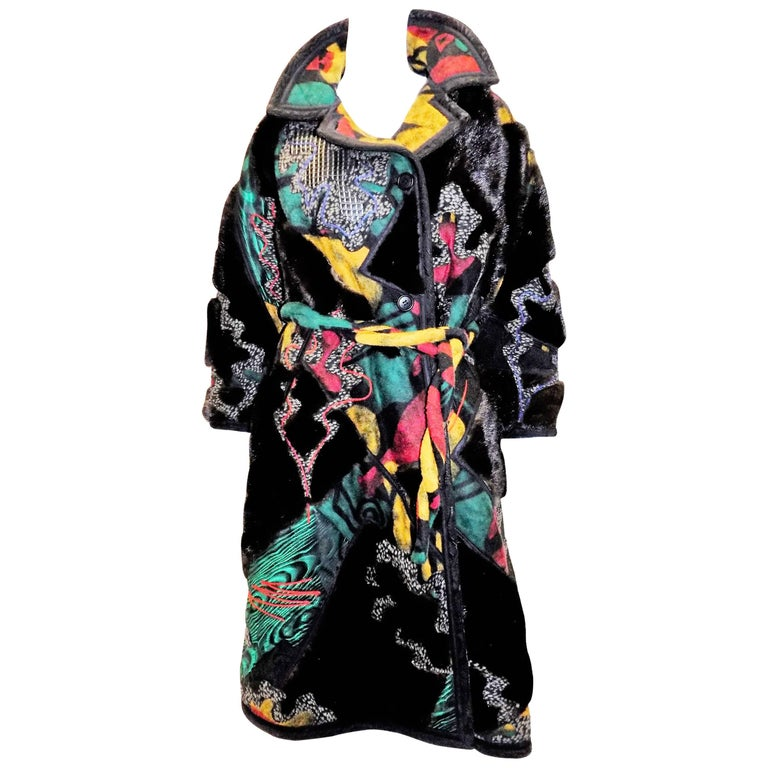 One of a kind Koos Van Den Akker Couture Mink and Patchwork Coat work of art!!