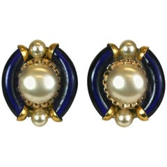 Seguso Glass and Pearl Ear Clips