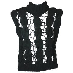 Veronique Branquinho Hand Knit Open Work Cabled Vest