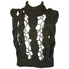 Veronique Branquinho Open Work Hand Knit Cabled Vest