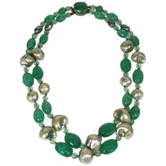 Louis Rousselet Baroque Pearl and Emerald Necklace