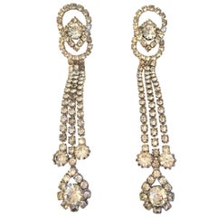 1960'S Silver & Austrian Crystal Dimensional Dangle Chandelier Earrings