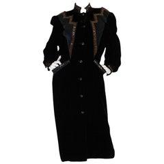 1970s Ted Lapidus Demi-Couture Velvet & Snakeskin Detail Coat