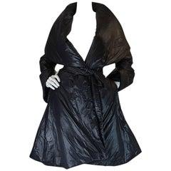 1980s OMO Norma Kamali Black Sleeping Bag Coat with Hood
