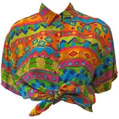 1990s Oscar de la Renta Printed Silk Shirt