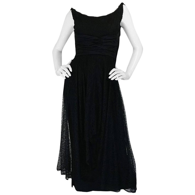1950s Ceil Chapman Little Black Lace Overlay Dress For Sale