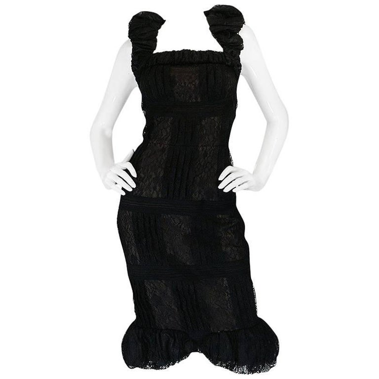 Chanel Resort Runway Elaborate Black Lace Dress, 2009  For Sale