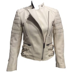 Céline White Leather Motorcycle Jacket Sz 36 (Us 4)
