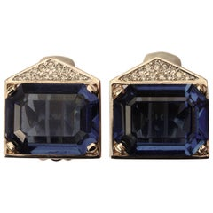 Panetta Gold Tone Blue and Clear Rhinestone Clip On Earrings