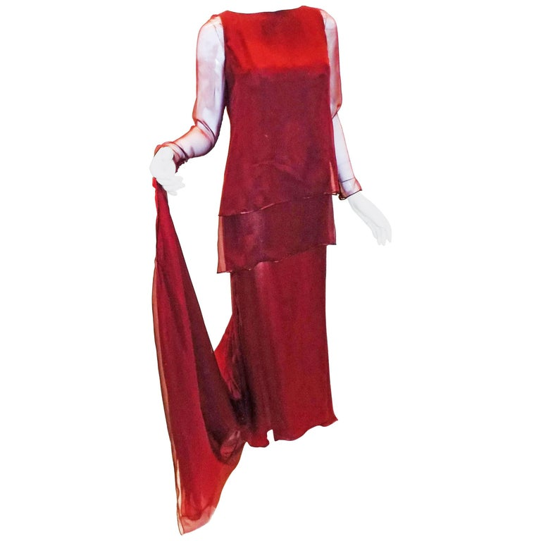 Chanel Haute Couture dark red  silk Gown with long train