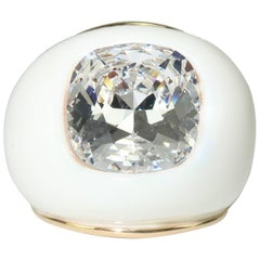 Contemporary Kenneth Jay Lane Large White Dome Ring With Crystal Rhinestone