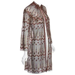 1970s Janice Wainwright Metallic Embroidered Lace Jacket and Maxi Slip Dress Set