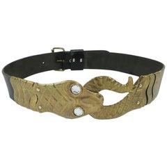 1980's Furla Italian Leather Belt With Brass Snake Buckle