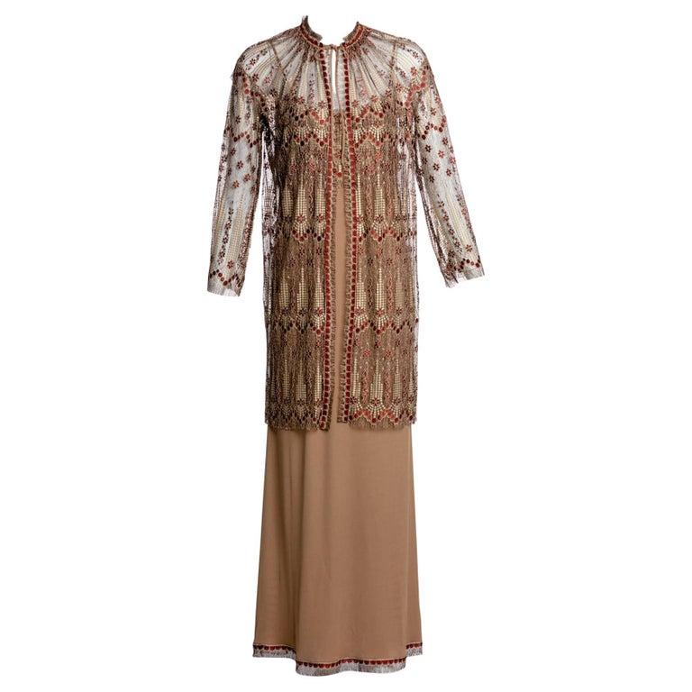 1970s Janice Wainwright Metallic Embroidered Lace Jacket and Maxi Slip Dress Set