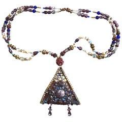 1982 Wendy Gell Lilac Rhinestone Triangle Necklace