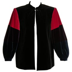 1970s Yves Saint Laurent Velvet Color-Blocked Sleeves Swing Smock Jacket YSL