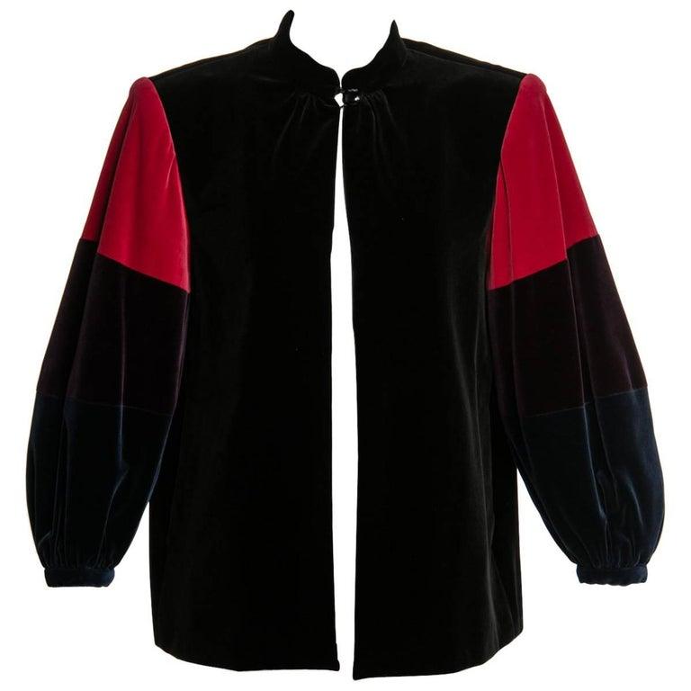 431bc76723 Yves Saint Laurent YSL Velvet Color-Blocked Sleeves Swing Smock Jacket,  1970s