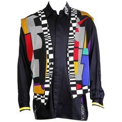 Versace Graphic Geometric Print Vest and Button Down Shirt  circa 1980s/1990s