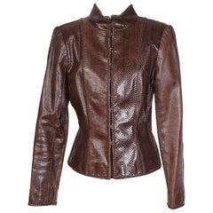 Oscar De La Renta Cognac Lizard Skin Jacket