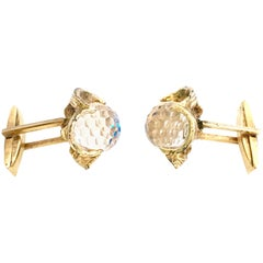 1960'S Pair Of Gold & Austrian Crystal Ball Cuff Links