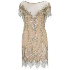 Bob Mackie F/W 1991 Nude Mini Fully Beaded Fringe Dress