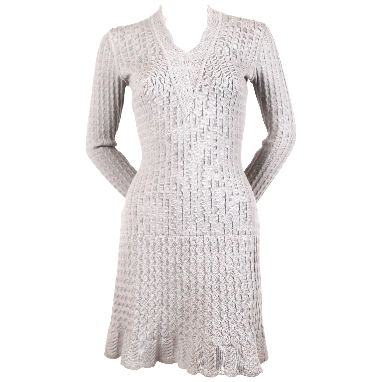 b2b7cc313e 1990 s AZZEDINE ALAIA blue crocheted knit dress with flounced sleeves For  Sale at 1stdibs