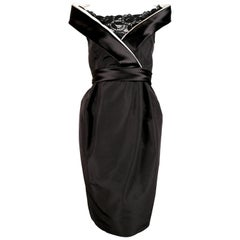 2006 ALEXANDER MCQUEEN black satin dress with raised collar