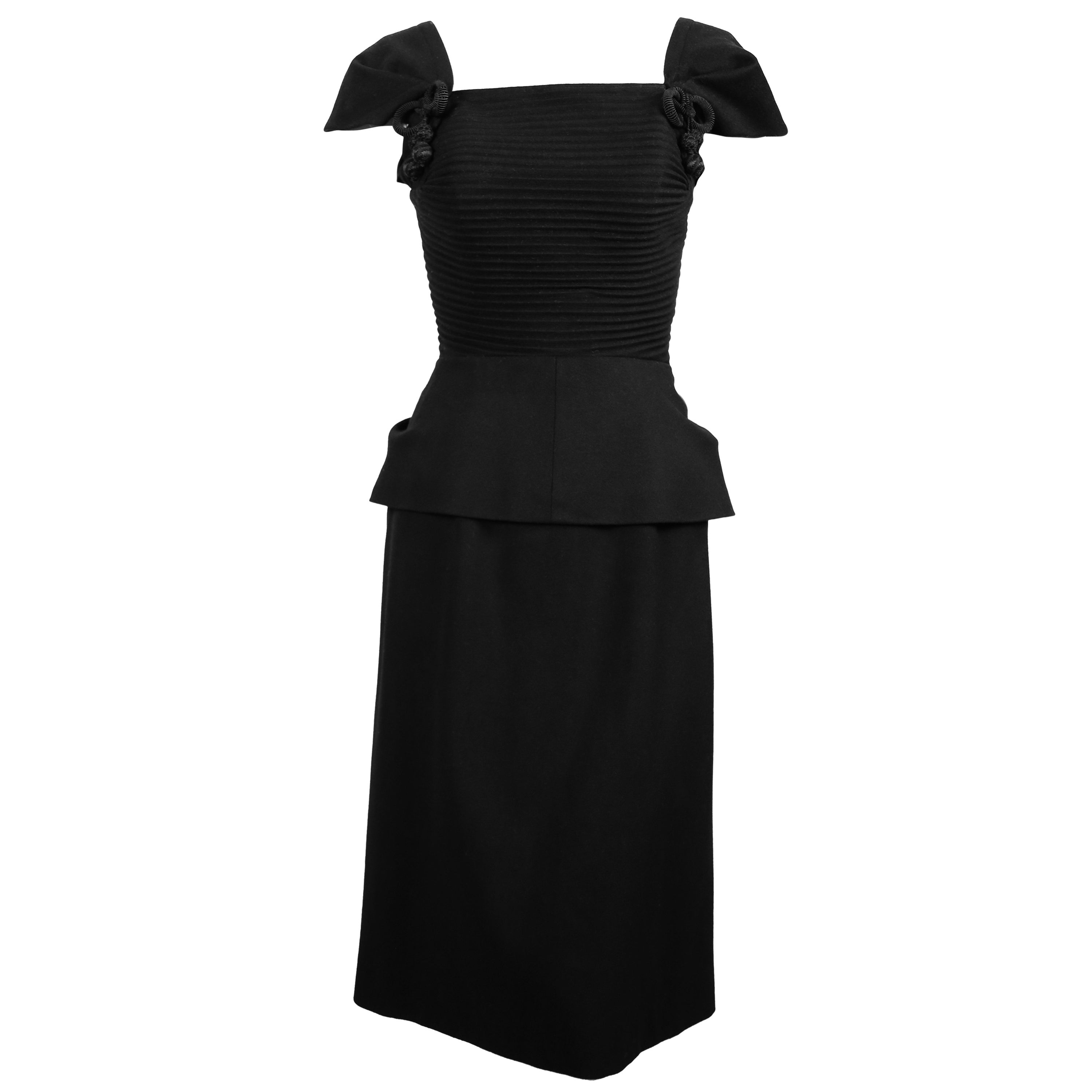 1940's HOUSE OF WORTH black wool haute couture dress