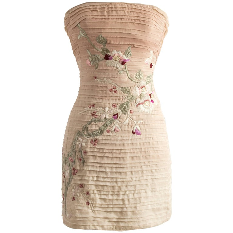 Tom Ford for Gucci pink embroidered silk mini dress, Spring-Summer 2003