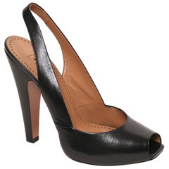 new AZZEDINE ALAIA black leather slingbacks 40.5