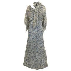 1970s Christian Dior Blue Floral Silk Print Maxi Dress