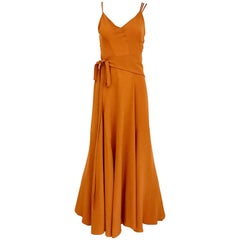 Kenzo 1990s Orange Silk Sparghetti Strap Silk Dress with Belt