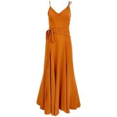 Kenzo 1990s Orange Silk Sparghetti Strap Silk Dress with Belt