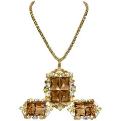 20th Century Gold, Crystal & Glass Demi Parure Necklace & Earrings S/4