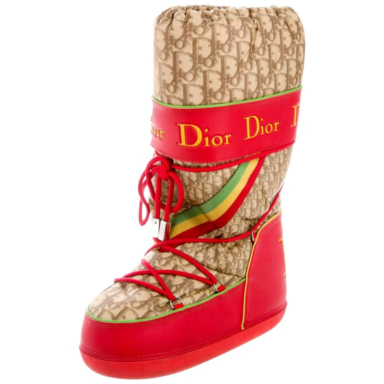 Christian Dior by John Galliano Rasta Diorissimo Logo Moon Snow Boots For Sale
