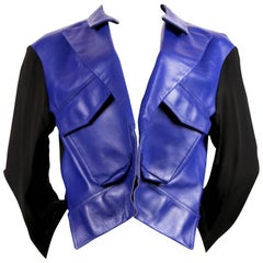 YOHJI YAMAMOTO blue leather jacket with forced front - 2007 runway
