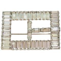 """60'S Silver & Crystal Clear Swarovski Crystal """"Buckle"""" Brooch"""