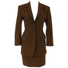 Prada brown wool skirt suit
