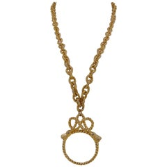 Unique and Rare Gold tone pendant magnifying glass pendant necklace